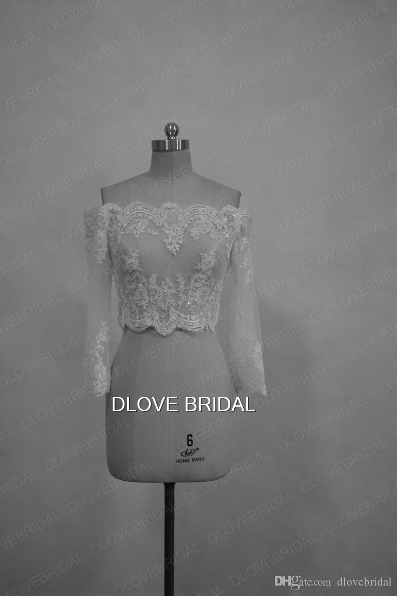 Romantic Off the Shoulder Lace Appliques Bridal Jacket 3/4 Long Sleeve White Ivory Wedding Bolero Custom Made Real Photo Bridal Accessory