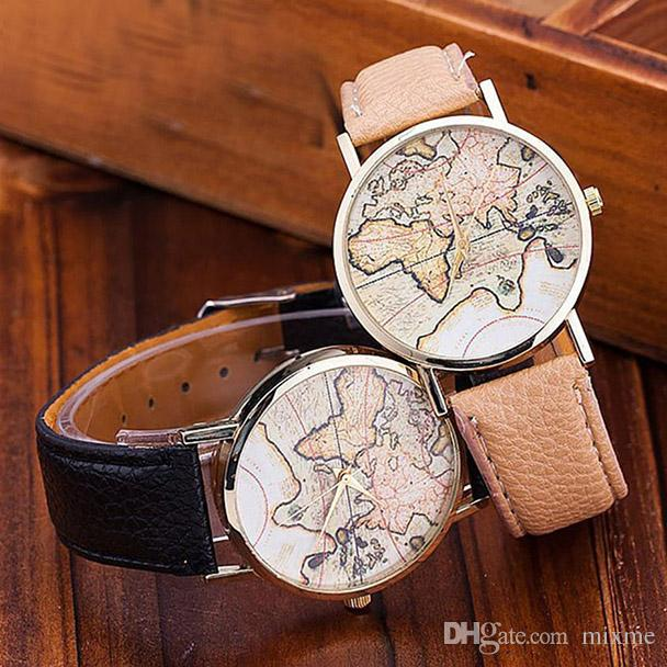 New brand fashion womens world map leather strap analog quartz new brand fashion womens world map leather strap analog quartz wrist watch watches ladies girl clock relogio feminino saat watch on sale online watch sales gumiabroncs Choice Image