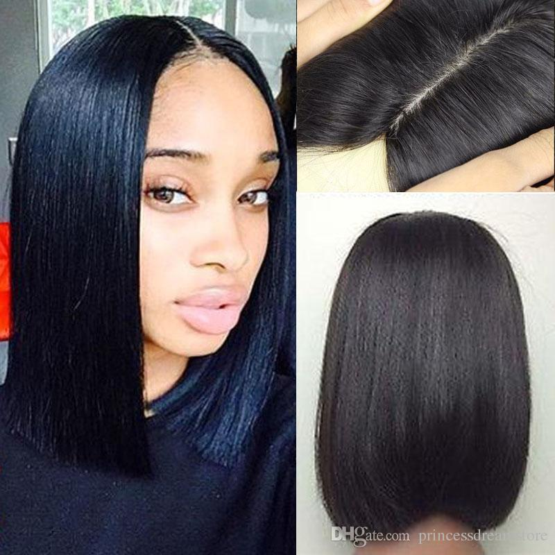 2017 Silk Base Short Bob Human Hair Wigs For Black Women