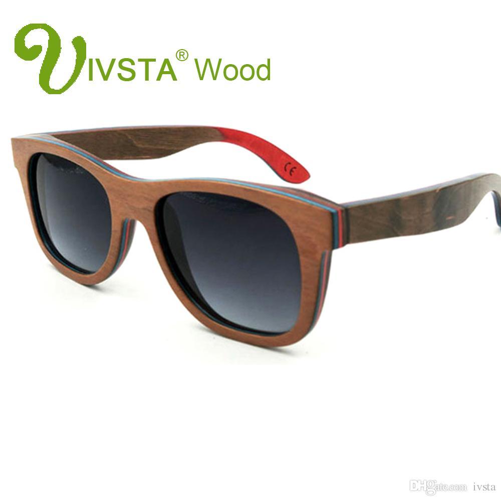 Real Skateboard Wood Sunglasses Polarized Wooden Sunglasses Men Handmade Natural Stainless Steel Spring Hinge Sports Black
