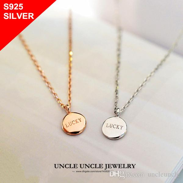 Wholesale 925 sterling silver necklace lucky letters small round wholesale 925 sterling silver necklace lucky letters small round pendant simple style woman necklace wholesale long necklaces fine jewelry from uncleuncle aloadofball Images