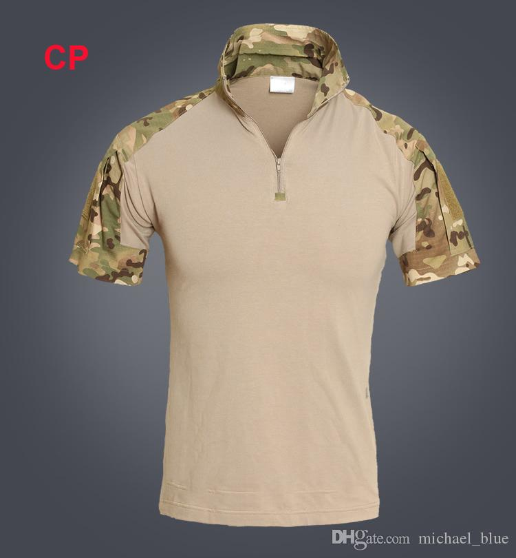 Summer Combat Shirt Tactical Short Sleeves Top Polo Shirts Hunt Clothe camouflage Frog Shirts BDU Army Combat Clothing Camo Shirt