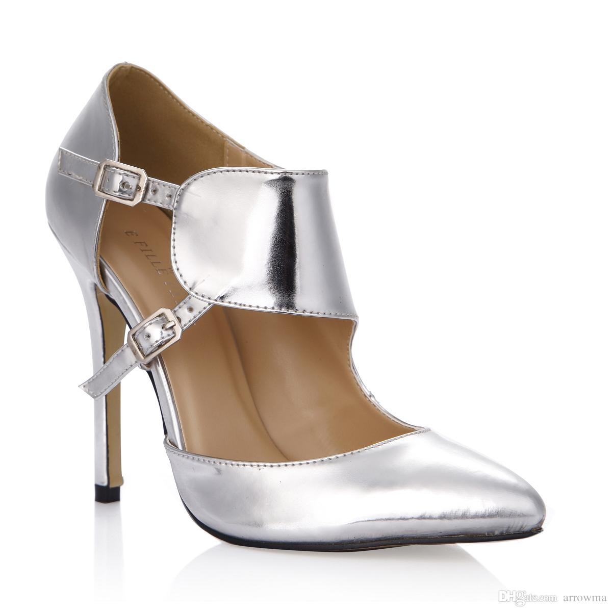 Silver Real Bridal Wedding Shoes Buckle Strap High Thin Heels Pointed Cheap  Modest Ladies Party Dress Shoes Sexy Pumps Shoe Sexy Bridal Shoes 2017  Wedding ... 6cba74b0cf18