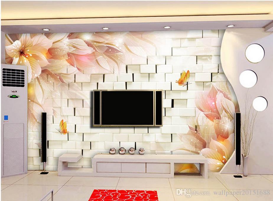 Moda 3D Home Decor bonito da fantasia flores TV 3D estéreo papel de parede para paredes 3 d para sala de estar