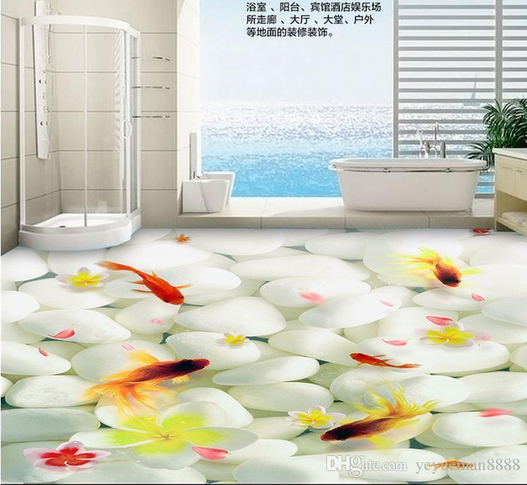 3d floor photo wallpaper Custom floor tiles Goose soft stone goldfish 3d mural wallpaper for living room pvc flooring