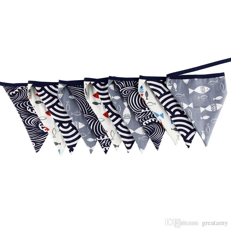 9 + Farben 12 Flaggen - 3.2M Baumwollgewebe Banner Hochzeit Bunting Decor Geburtstag Party Baby Shower Garland Zelt Dekoration