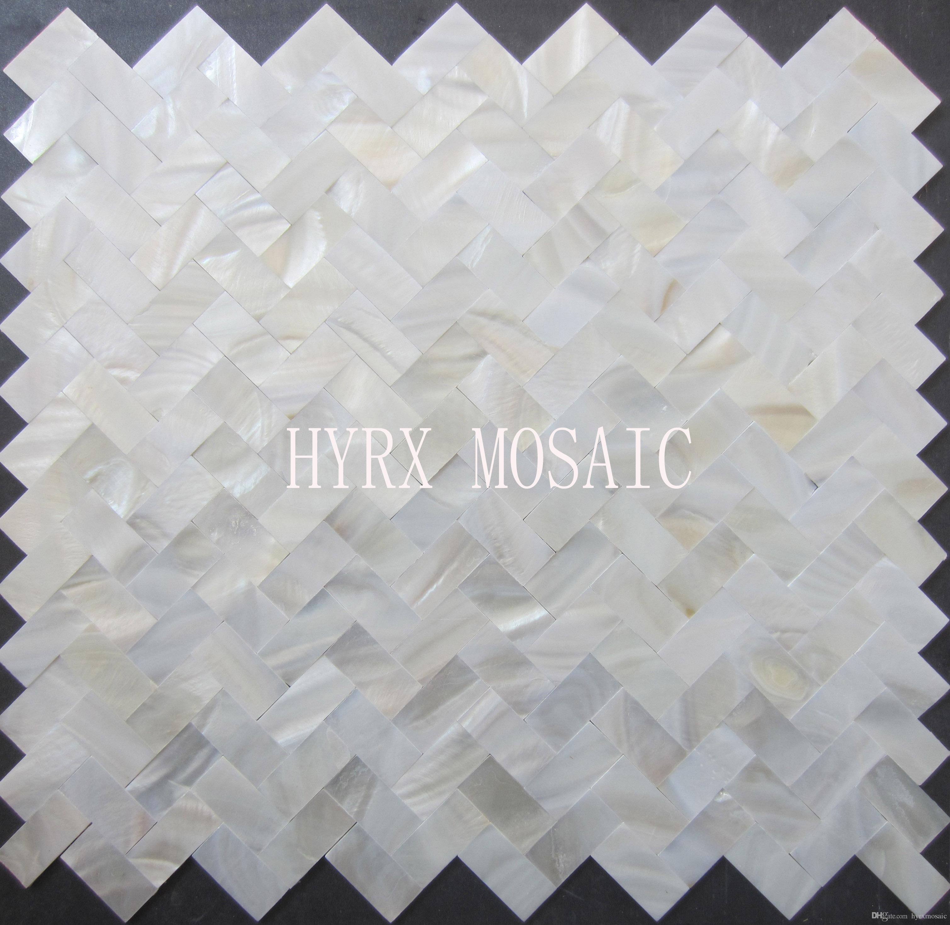 2019 Herringbone Supper White Square Shell Mosaic Tile