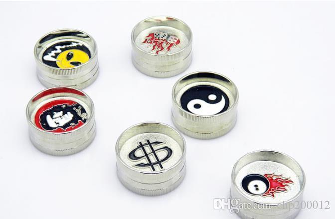 2-stufige Mini-Zahn Grinder Durchmesser 42mm Punkt Farbe Zink-Legierung Silber gebrochen Zigarettenrauchen