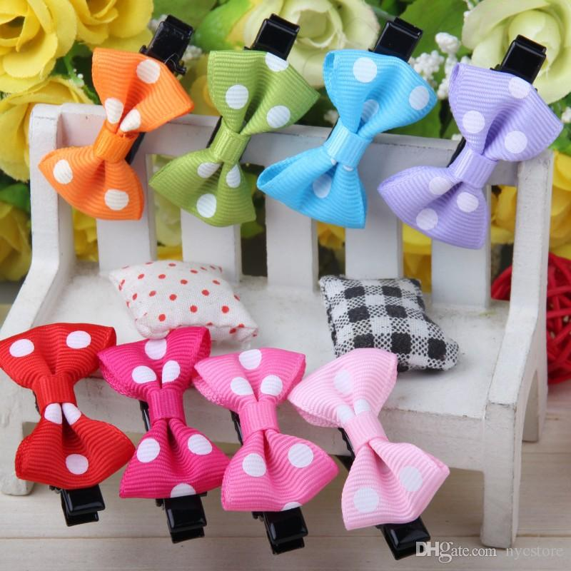 Cheap Small Bowknot Hairgrips Mini Baby Girls Children kids Solid Dot Ribbow Bow Safety Hair Clips Kids Hairpins