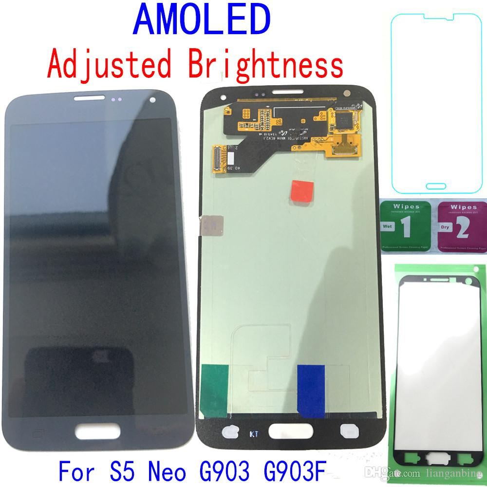 Super AMOLED LCD Display Touch Screen Digitizer For Samsung Galaxy S5 Neo G903 G903F Black White With Tempered Glass DHL logistics