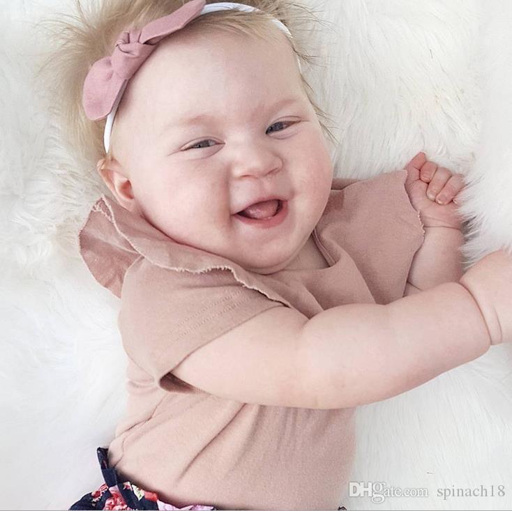 Новый летний Ins младенческой детские хлопок футболки дети Питер Пэн воротник с коротким рукавом симпатичные топы Tee дети футболки розовый