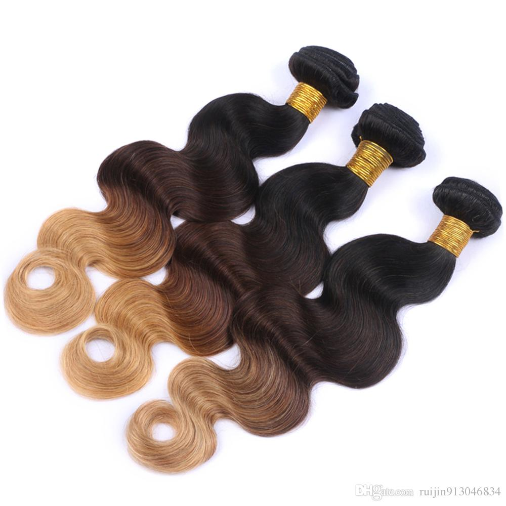Best quality! Ombre Hair Extensions 7A three Tone 1B/27 Unprocessed brazilian human hair Cheap human Hair Body Weave 4 Bundles