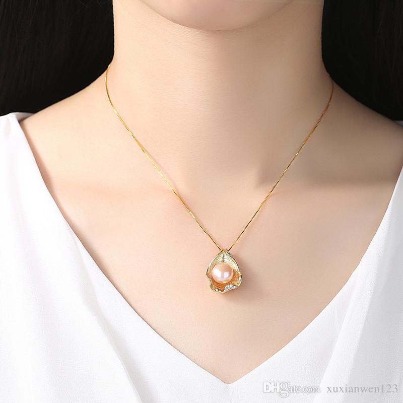 Hot charm shell design perla gioielli perla collana pendente 925 gioielli argento sterling gioielli collane le donne