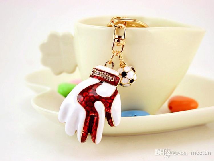 2018 Russia's World Cup Geschenke Kreative Torwarthandschuhe Schlüsselanhänger Mode Schlüsselanhänger Ring Schlüsselanhänger Auto Anhänger Schlüsselhalter Schmuckstück