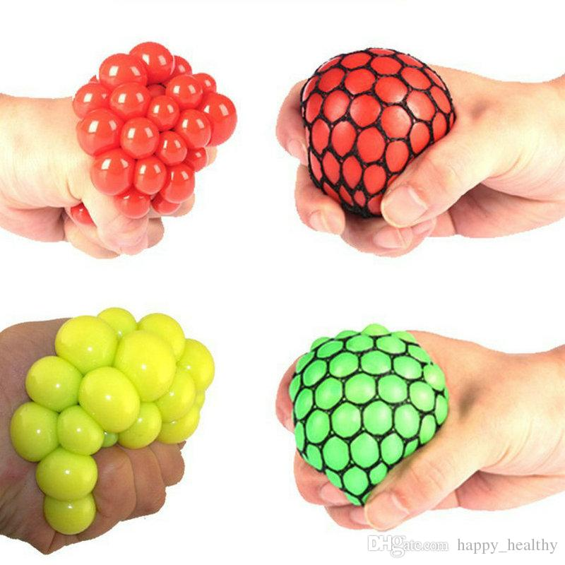 96pcs Decompression grape ball 6cm Cute Anti Stress Face Reliever Autism Mood Squeeze Relief Toy Funny Gadget Vent Water polo dhl free