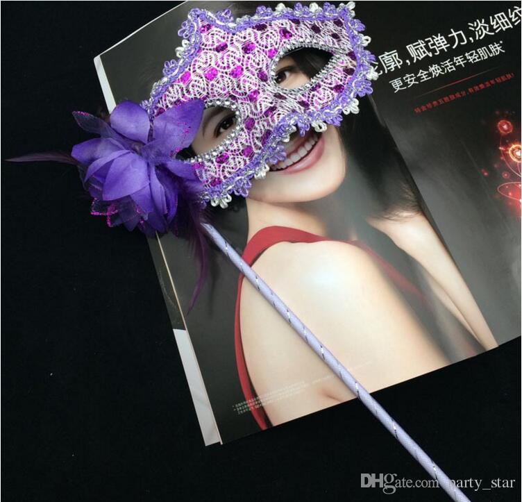 Mix Sipariş İzin Kadınlar Yüksek dereceli El Masquerade Maskeleri Cadılar Bayramı Partisi Yan Çiçek Üst Yarım Yüz Maskeleri Parti Karnavalı Maskeler