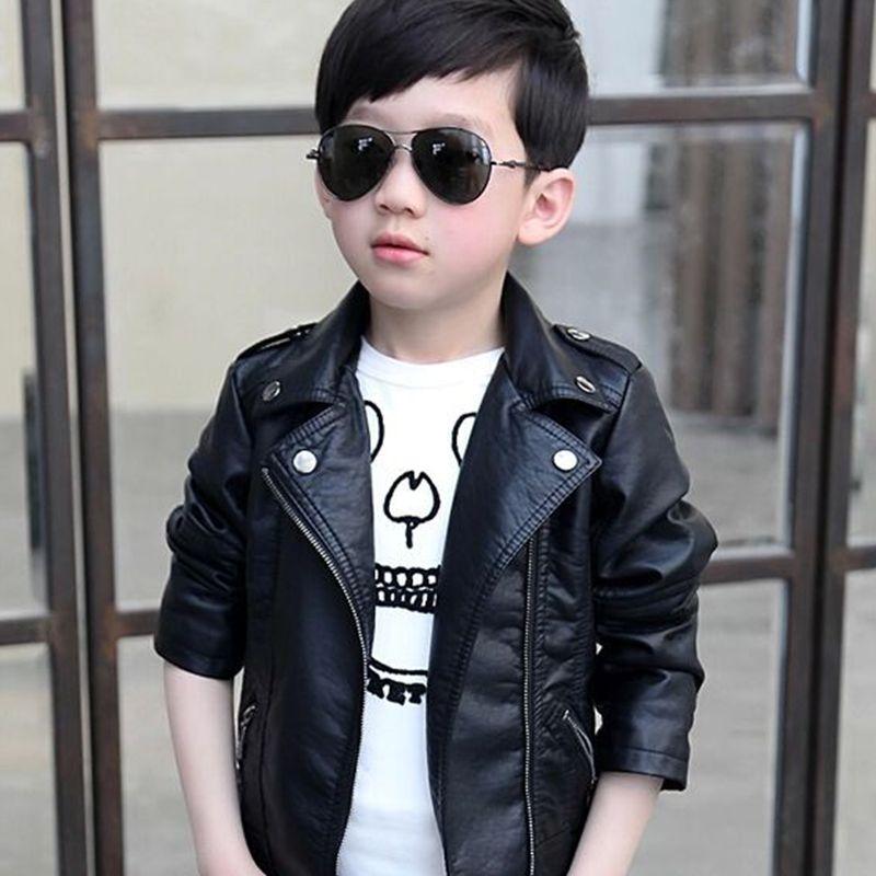 2016 Fashion Boys Leather Jacket Kids Casual Outwear Coat Long ...