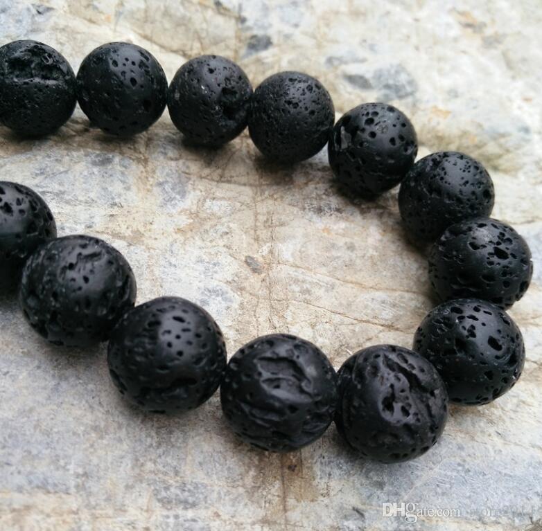 4mm 6mm 8mm 10mm 12mm naturale nero vulcanico pietra lavica perline tonde 15.5 ''