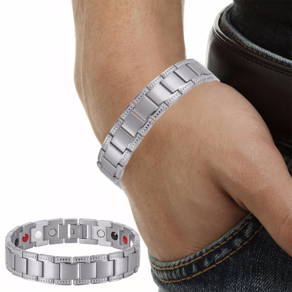 Black Titanium Bracelet Balance Energy Healing Negative ions Magnetic Power Men Bracelet Chain Gift OTB-1284