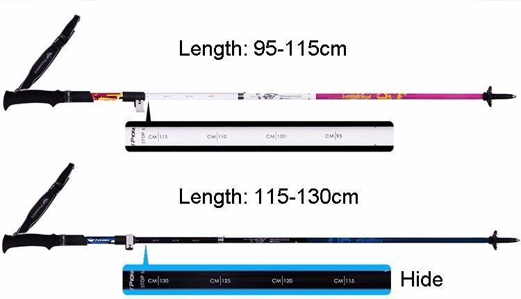 Pioneer Carbon folding walking sticks brand Ultra-light Adjustable Camping Hiking Walking Alpenstock poles bastones Trekking cane