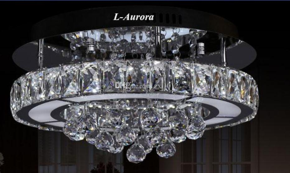 Discount New Study Dining Room Living Led Lamp Ring Three Sides Villa Hotel Crystal Diamond Ceiling Lights Lustres Light Iron Pendant