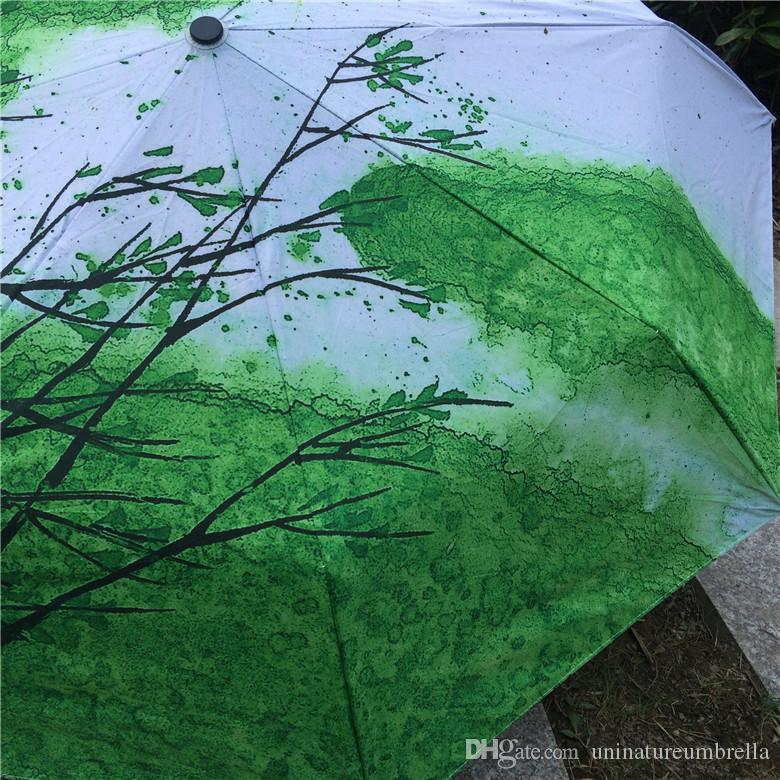 2017 New Novelty Items Oil Painting Arts Umbrella Rain women Creative Famous Brand Mujer Paraguas Anti-UV Fashion Parasol Spring Green