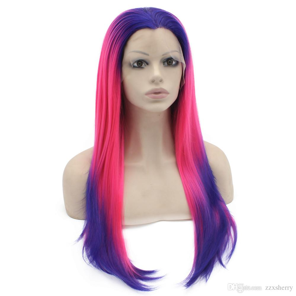 "24"" Long Ombre Violet Purple Hot Pink Silky Straight Half Hand Tied Heat Resistant Synthetic Fiber Lace Front Fashion Cosplay Wig S02"