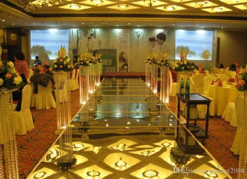 Centrotavola di lusso matrimoni Aisle Runner Mirror Tappeti la decorazione della stazione T di nozze Oro argento Viola Rosa Colore rosso Disponibile