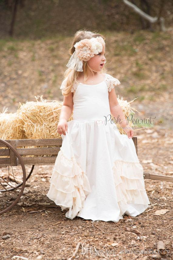 2017 pas cher Hot Boho en mousseline de soie fleurs filles robes pour les pays de l'Ouest mariages personnalisé une ligne Cap manches enfants fête porter des robes