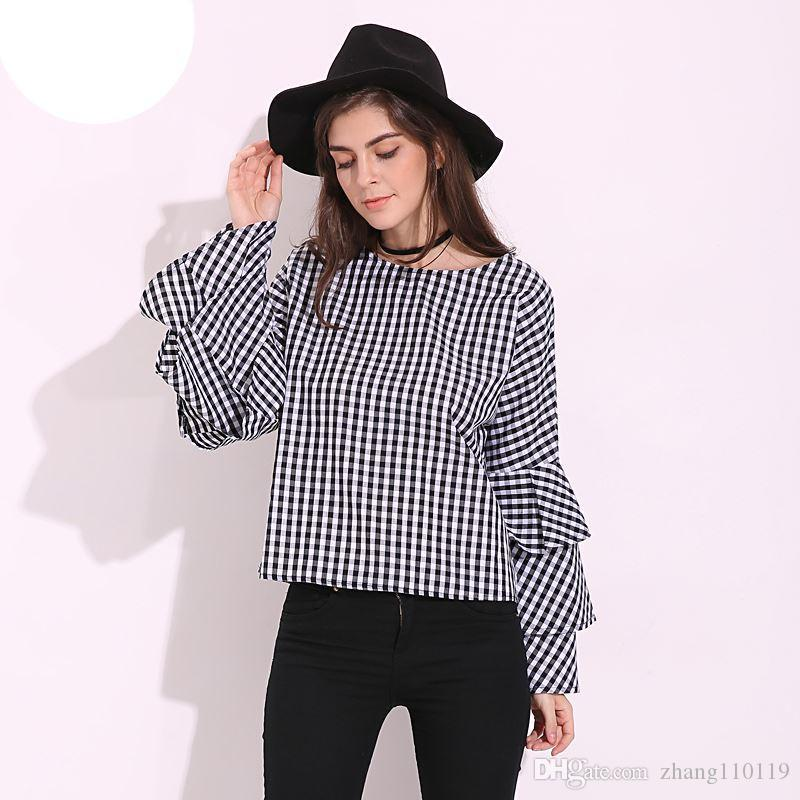 d3bae4b501be 2019 Womens Blouses 2018 Crew Neck Check Plaid Long Sleeve Ruffled  Flouncing Flared Loose Casual Blouse Tops Shirt Blusas Plus Size From  Zhang110119, ...