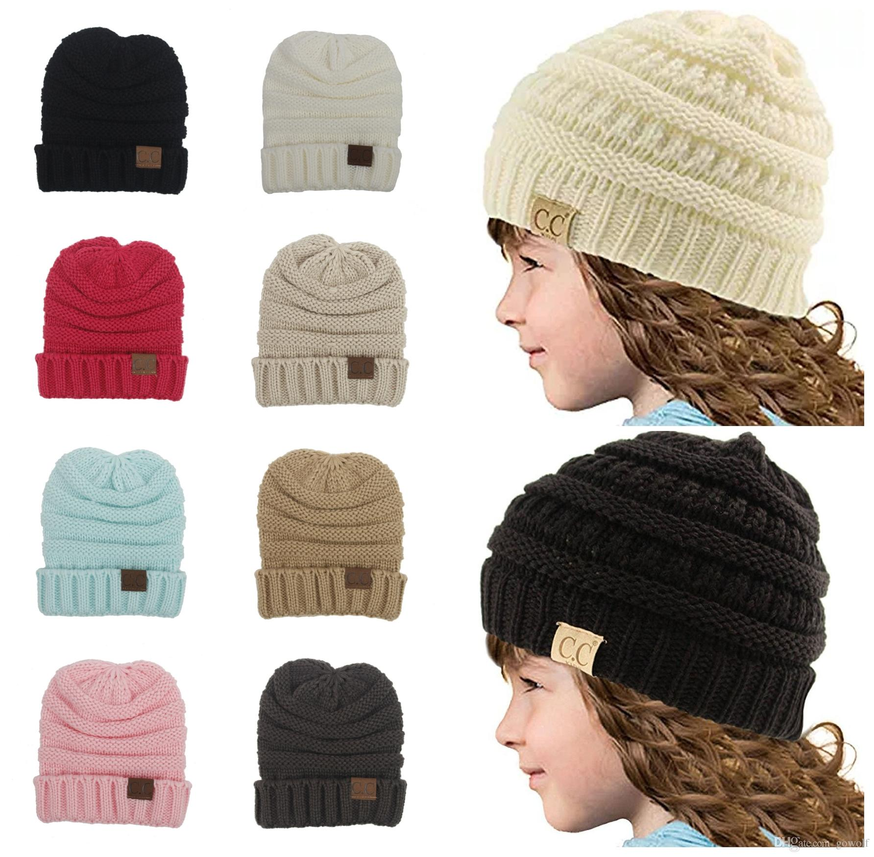 1d7b612d246524 CC Beanie Hats Winter Warm Headware Newborn Baby Kids Girls Boys ...