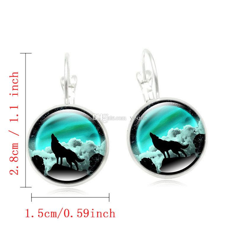 Hot Sell !Wolf Stud Earring For Women Glass Cabachon Bezel Brincos Perola Art Photo Dome Round Earrings Fashion Jewelry