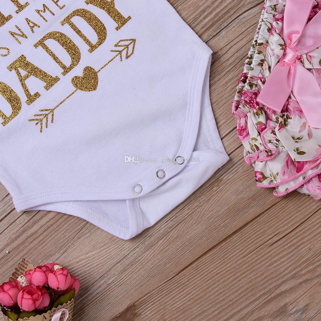 아기 소녀 의류 세트 유아 INs Romper + 꽃 반바지 및 머리띠 레깅스 세트 내 공주님의 이름은 아빠 m3443 K041입니다