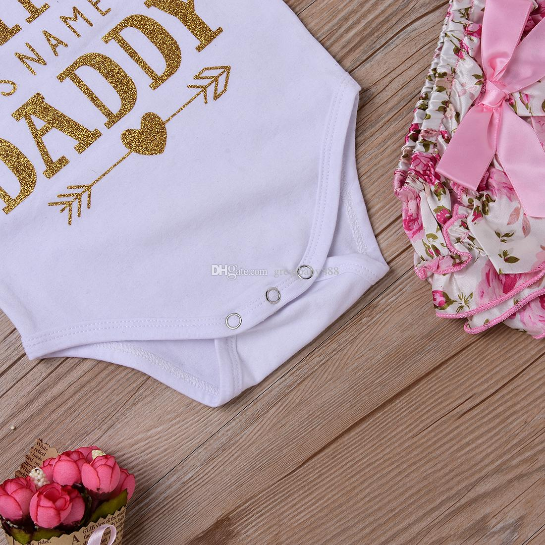 Baby girl Clothing Sets Infant INS Romper + floral shorts + Headband + leggings Set I Found My Princess His Name is Daddy K041