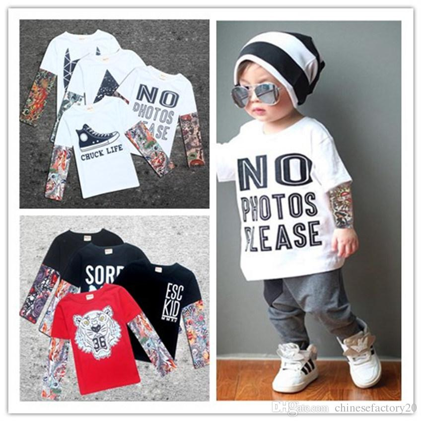 e0c764a4d7872 2019 Fashion Baby Long Sleeve T Shirts Tattoo Letter Clothing Hip Hop Style  Long Sleeve INS Toddler Patchwork Clothes From Chinesefactory20