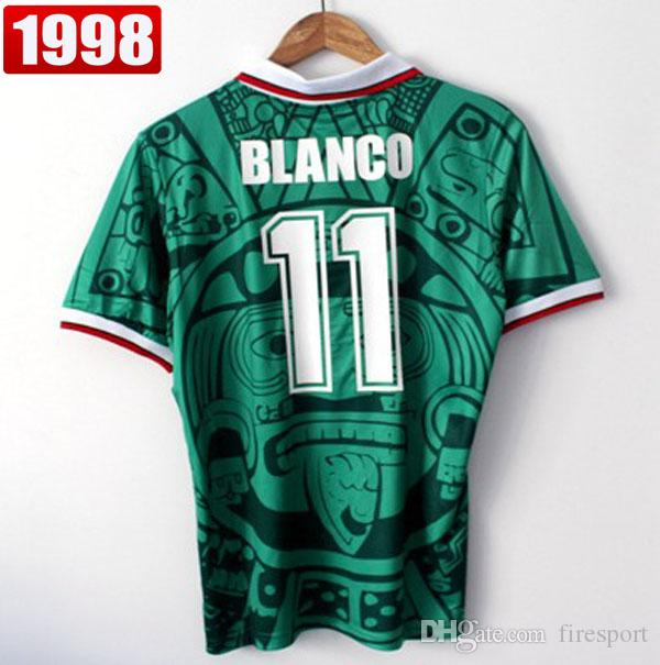 fa0f67ab1 2019 Best Thailand Quality Retro Version 1998 Mexico World Cup Classic Vintage  Mexico Retro Jersey Home Green HERNANDEZ BLANCO 11  Football Shirt From ...