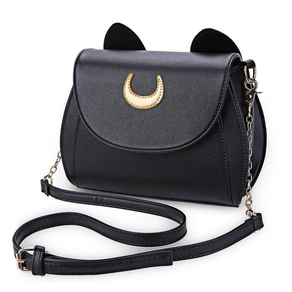57b7633a51 Wholesale Hot Sale Black Sailor Moon Ladies Handbag PU Leather Women  Messenger Crossbody Small Bag Women Luna Cat Shape Chain Shoulder Bag  Leather Bags For ...