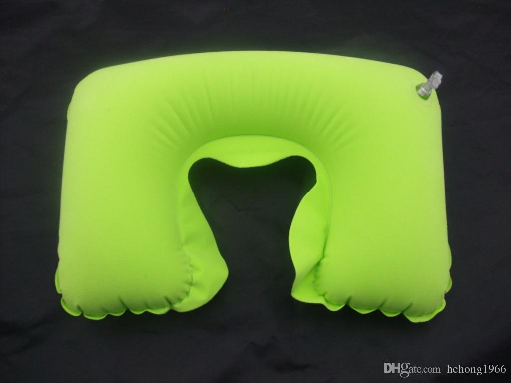 Flocado almohada en U Turismo respaldo cojín Colorido almohada inflable Bloque cómodo respaldo para el coche al aire libre Oficina Venta caliente 1 85sk R