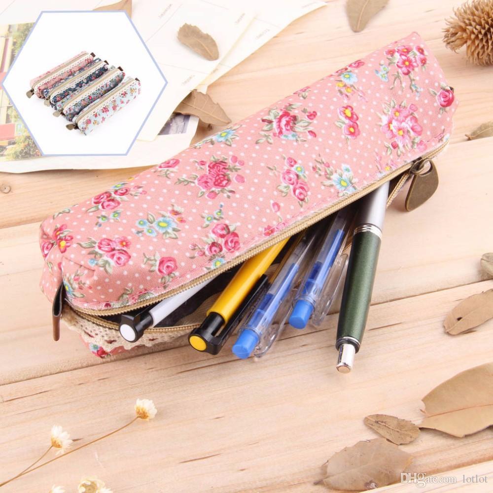 Девушки Цветок Кружева Цветочные Точки Пенал Ручка Сумка Кошелек Косметический Макияж Сумки Сумка На Молнии Кошелек