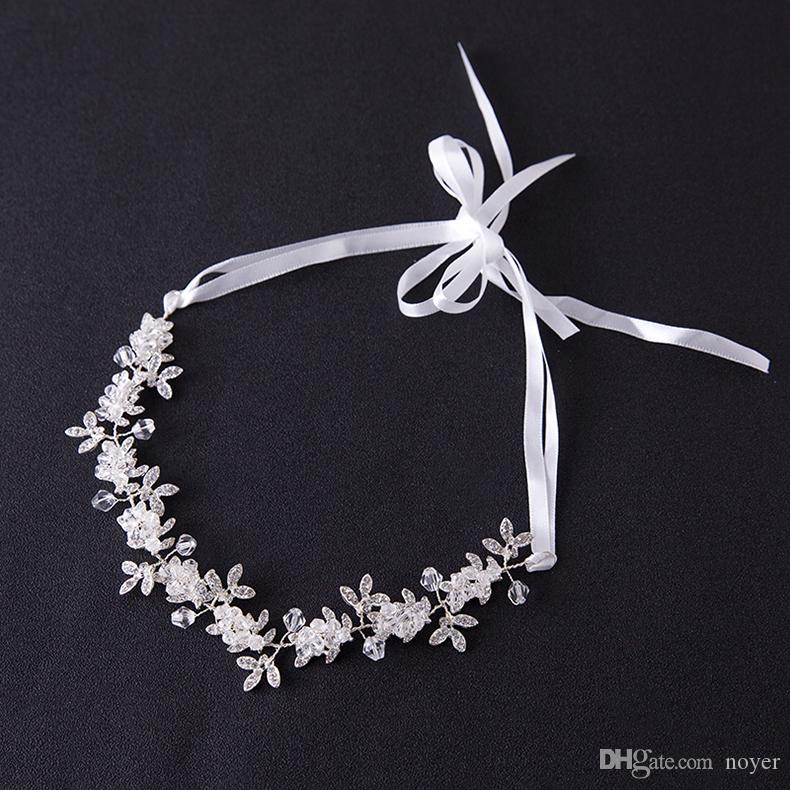 Diadas de cristal transparent bandeau de mariée mariage fleur coiffe noble cheveux ornement cheveux bijoux strass bande de cheveux pour les femmes