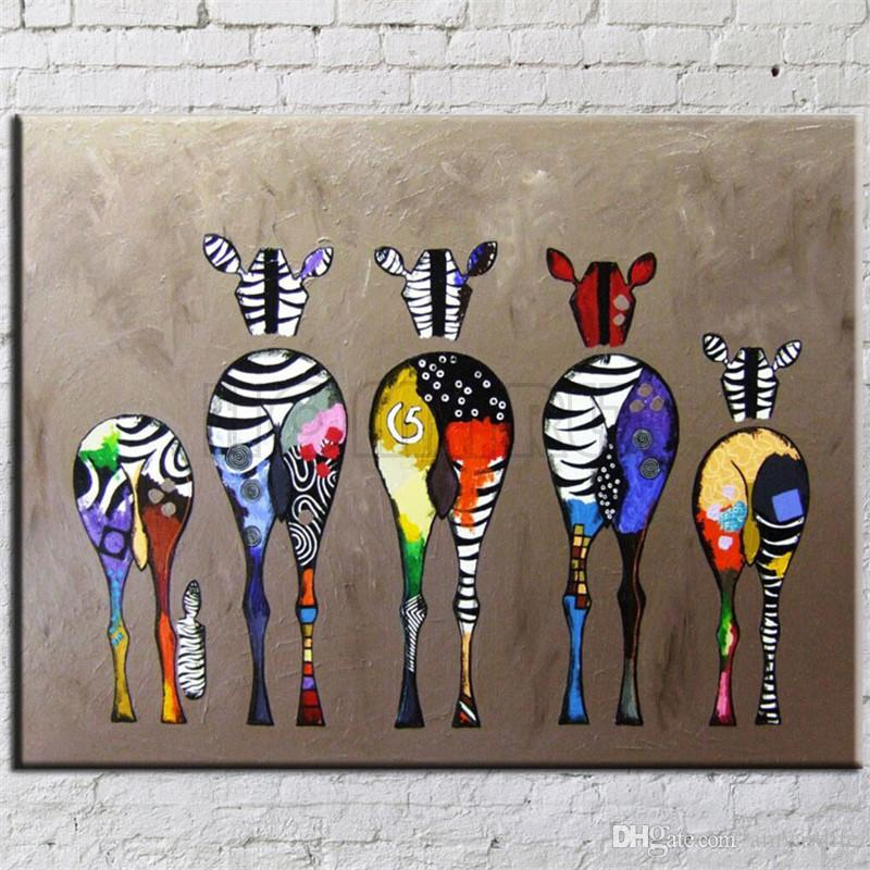 Bien connu Hand Painted Abstract Andy Warhol Pop Art Painting Zebra Wall Art  LV52