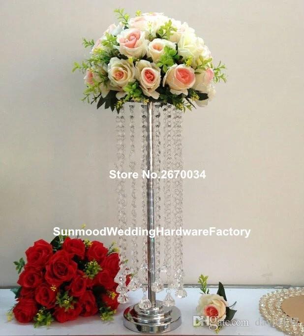 Großhandelskristallkerzenstand mit hängenden Perlen für Hochzeit