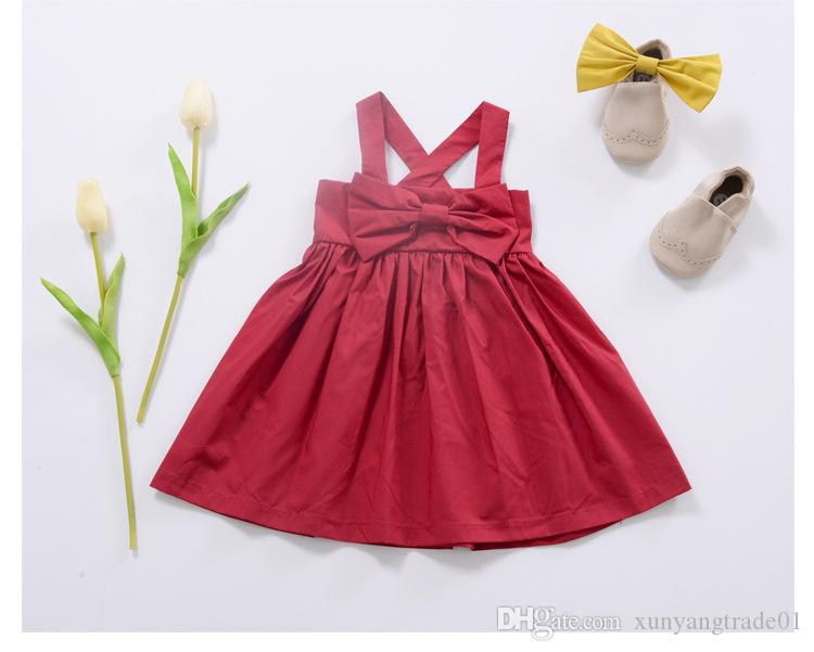 INS 2017 Summer Baby Clothes Girls Dress Bow Suspender Skirt Solid Color Ball Gown Pleated Infant Newborn Princess Dress Kids Clothing 091
