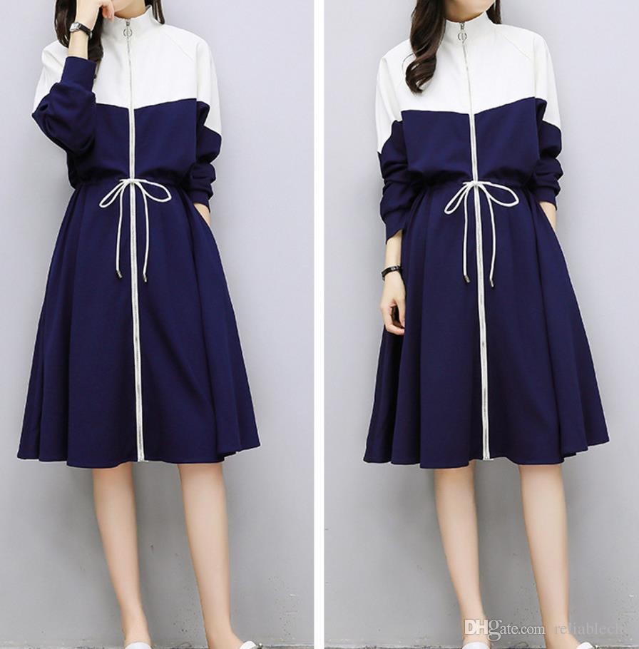 Jacket Dress Long Sports Long Sleeve Stand Collar White Blue Matching Color Patchwork Zipper Pockets Drawstring Waisted Dresses Free Ship
