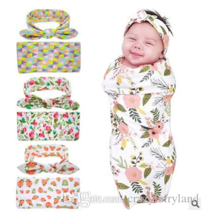 Newborn Baby Swaddle Blankets Headband Set With Bunny Ear Headbands