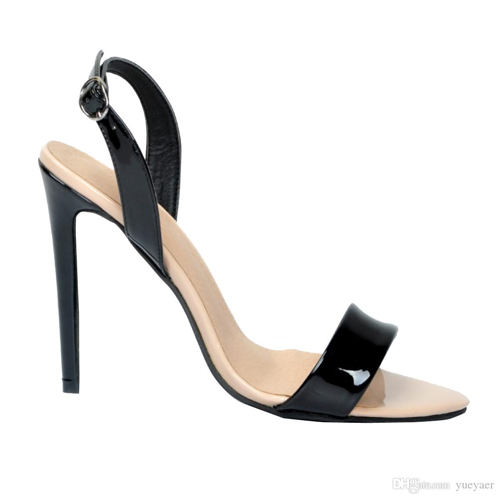 Zandina Wholesale Womens Fashion Strappy Stiletto 발 뒤꿈치 샌들 발목 스트랩 팔목 들여다 발가락 신발 블랙 XD193