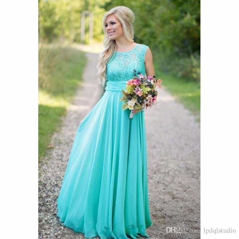 35c19782337 Aqua Blue Bridesmaid Dresses Sequins Chiffon Summer Wedding Guest Dress For  Party Floor Length Appliques Lace Bridesmaid Gowns Destination Bridesmaid  ...