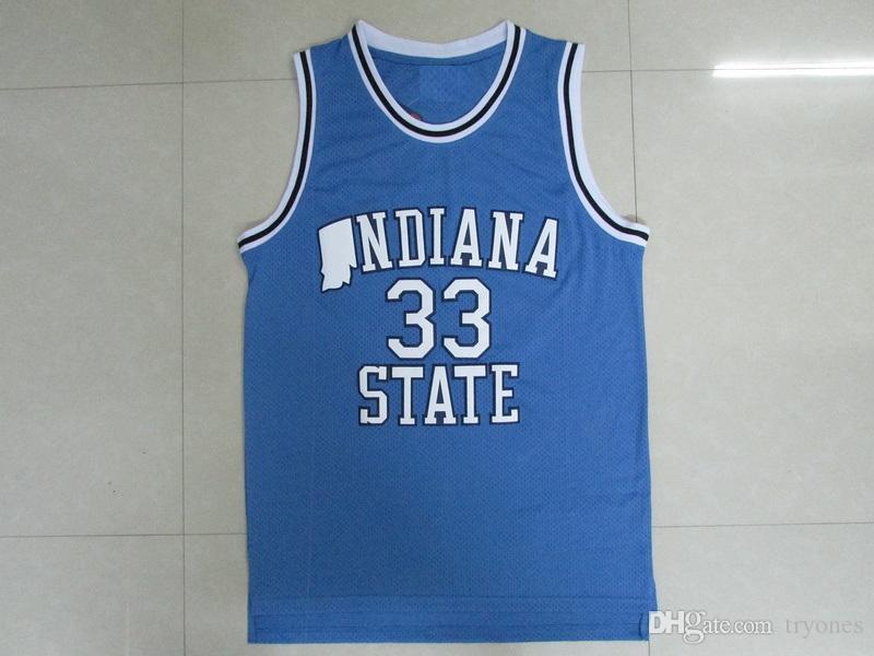 Erkek Indiana State Sycamores Larry Bird Koleji Basketbol Formaları # 33 Yeni Vadi Lisesi Larry Kuş Dikişli Sarı Kırmızı Gömlek
