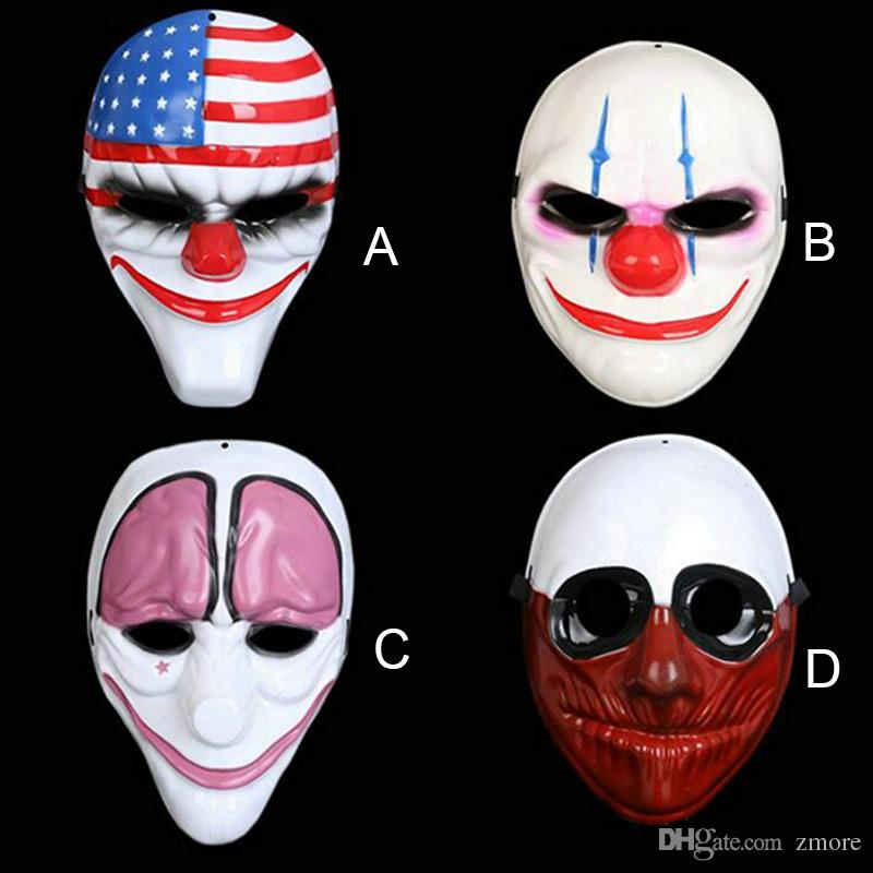 Halloween Horror Mask Payday 2 Mask Newest Topic Game Series Plastic Old  Head Clown Flag Red Head Masquerade Supplies