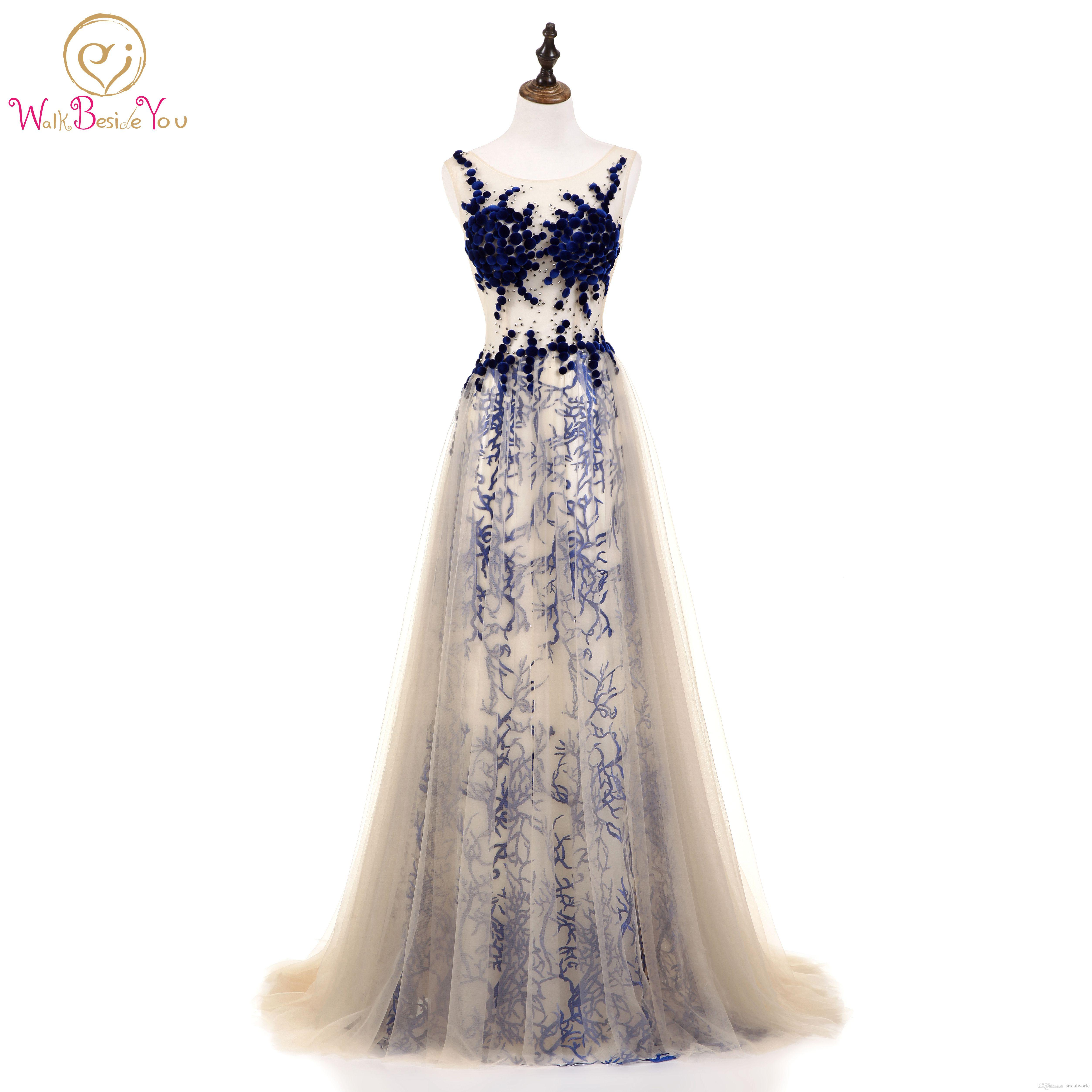 a7bc118a81cb9 Walk Beside You Champagne Evening Dresses Sexy See Through Royal Blue Lace  Crystal A-line Prom Gown Long Summer Dress 2018 Stock